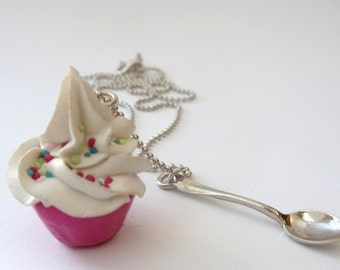 Cupcake necklace and small spoon Pendant  miniature fake cupcake Polymer Clay fimo Charm ball chain necklace white frosting and pink cup