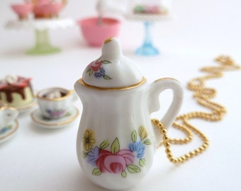 SALE - Tea Party Teapot  necklace alice in wonderland miniature Charm white and gold ceramic tea pot  unique gifts birthday girls party