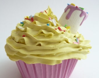 Realistic fake cupcake for decoration kitchen ,first birthday party centerpieces,shower favor,girls room, yellow icing