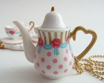 Princess Teapot  necklace Pendant alice in wonderland miniature gold ball chain white polka dot tea pot unique gifts birthday girls