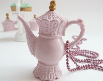 Teapot  necklace Pendant alice in wonderland miniature Charm - time for fairy tale princess tea party theme party bridal shower favor