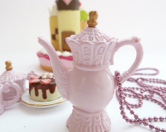 Antique pink Teapot  necklace alice in wonderland miniature Charm  unique gifts birthday girls - time for fairy tale princess tea party