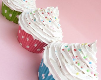 Fake cupcake SET OF 3 supper Realistic  look graet as photo prop cupcake first birthday party centerpieces white icing whimsical gifts