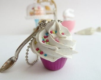 Cupcake necklace and small spoon Charm fake cupcake alice in wonderland  with silver ball chain white frosting birthday girls party