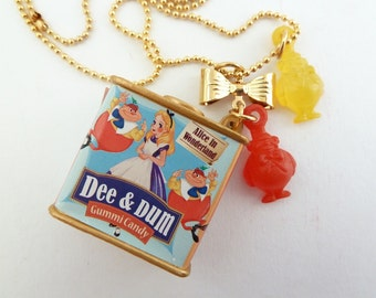 Tweedle Dee and Tweedle Dum Alice In Wonderland Necklace Dee and Dum gummi candy charms with gold bow charm great for theme tea party