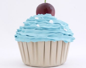 KITCHEN DECORATION fake cupcake kitchen centerpieces to fill cupcake stand and cake stand  blue icing whimsical gift for hostess