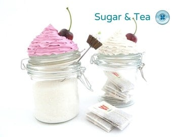 Sweet kitchen Cannisters CUPCAKE JAR set of 2 jars topped with fake cupcake  frosting - graet for sugar tea and coffee pink and white Icing