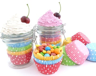 Cupcake Liner Holder FAKE CUPCAKE jar for storage your cupcakes wraps graet for cupcake shop and Kitchen decoration
