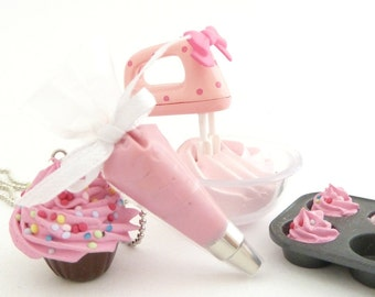 The Bakers Necklace sweet pink Cupcake necklace with pink Pastry Bag charm great as tea party necklace