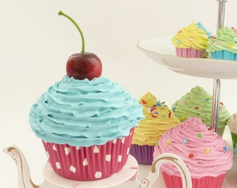 FAKE CUPCAKE  birthday cupcake for first birthday party centerpieces decoration and great 1st birthday pictures prop ,blue icing