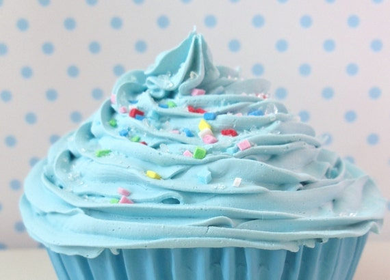 Christmas Ornament baby boy cupcake - fake cupcake Christmas tree Ornament or as photo props ,first birthday party ,blue icing unique gifts
