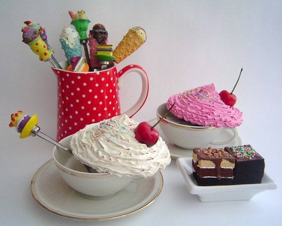 FAKE CUPCAKE kitchen Cannisters set of 2 Cupcake Alice in wonderland tea cup and saucer retro vintage - pink and white Icing