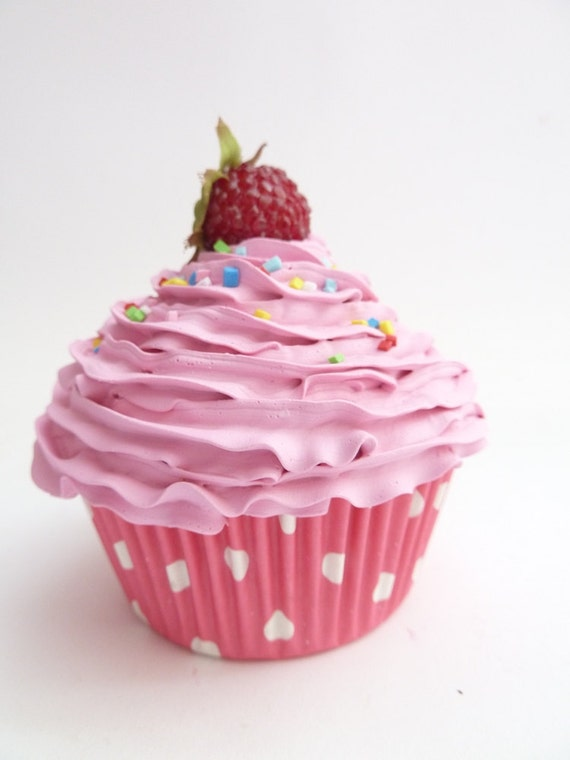 CUPCAKE ORNAMENT fake cupcake Realistic look for photo prop shoot ,first birthday party centerpieces ,girls room pink icing  unique gifts