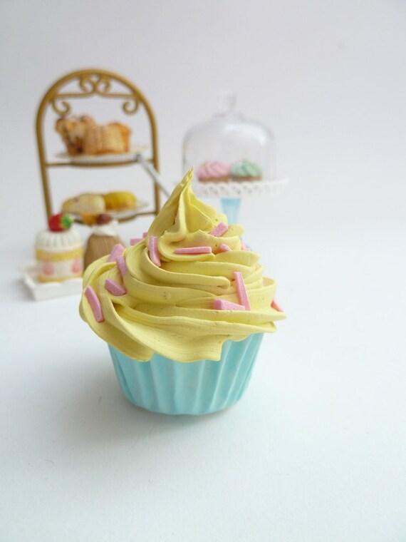 FAKE CUPCAKE - ornament cupcake ,magnet cupcake ,car mirror charm cupcake  ,christmas ornament cupcake , yellow Icing mini size