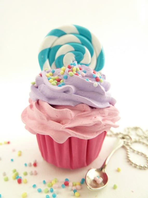 Lollipop Cupcake Necklace with small spoon Charm alice in wonderland with silver ball chain pink and purple frosting ,birthday girls party