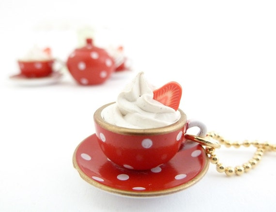 Cup Of Coffee charm necklace alice in wonderland miniature polka dot red and white cup with gold trim topped with whipped cream