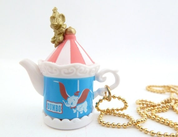 Dumbo tea party Disney tea pot necklace Vintage style miniature cup unique gifts for birthday party favors