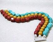 Turquoise Red Jasper Stranded Bracelet B343