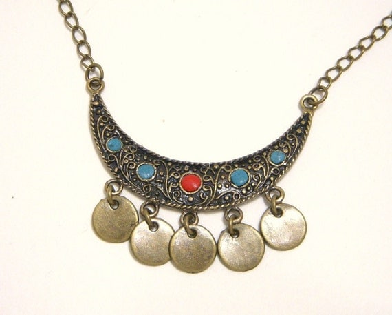 Necklace, Gypsy, Crescent Moon, Brass Coins N435