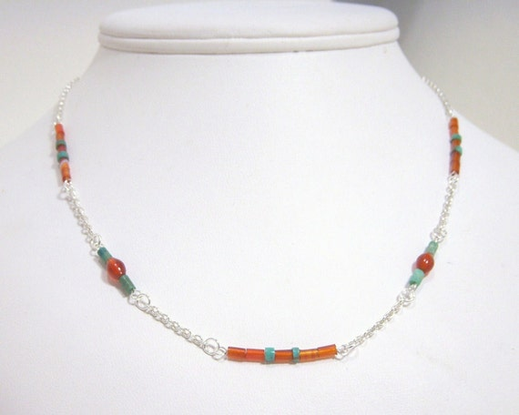 Necklace, Turquoise, Southwestern, Sterling, Red Agate, Carnelian N475