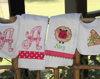 Personalized Baby Girl Set 2 bibs 2 burpies
