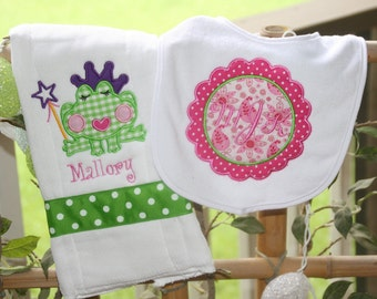 Monogrammed  FrogPrincess Bib and Burp Cloth Set New Baby Personalized Shower Gift