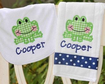 Personalized Baby Burp Cloth Bib Frog Animal New Baby Shower Gift Monogrammed