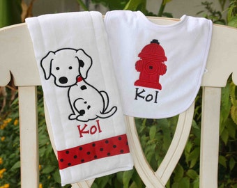Personalized Baby Burp Cloth Bib Dalmation Puppy Fireman fire hydrant Animal New Baby Shower Gift Monogrammed