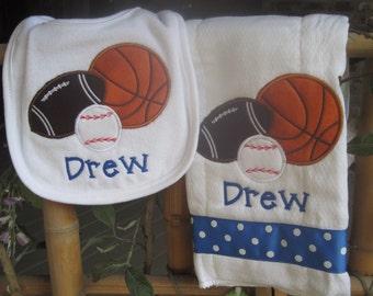 Personalized Baby Burp Cloth Bib Sports Baby Boy Football Baseball Basketball New Baby Shower Gift Monogrammed