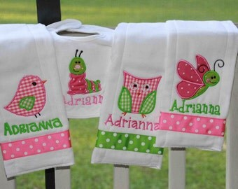 Personalized Owl, Bird, Snail, & Caterpillar Set 2 bibs and 2 burp clothes Monogrammed Shower Gift
