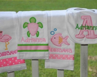Personalized  4 piece set bib and burp clothes  Flamingo,Seaturtle,Fish Monogrammed Shower Gift