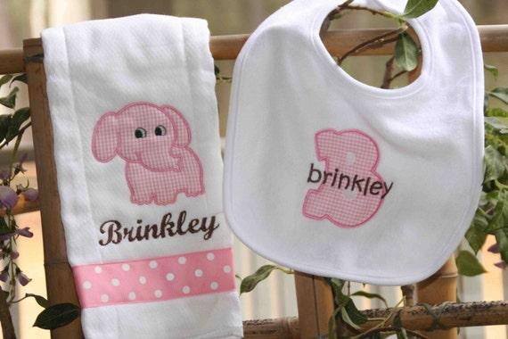 Personalized Baby Girl Monogrammed Animal Newborn Baby Shower Gift Set Bib Burp Cloth