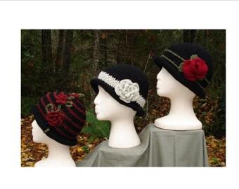 Rolled Brim Cloche Hats -  PA-102 - Crochet Pattern PDF