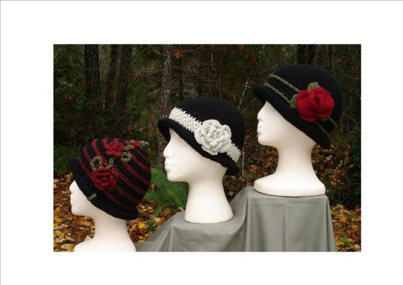 Crochet Patterns PDF - 'Rolled Brim Cloche' Hats -  PA-102