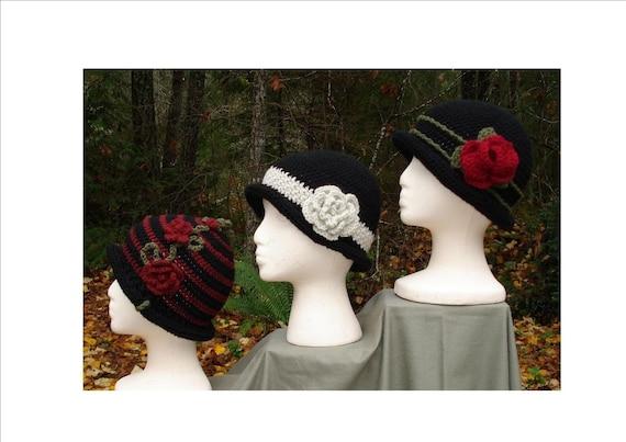 Crochet Patterns PDF - 'Rolled Brim Cloche' Hats -  PA-102