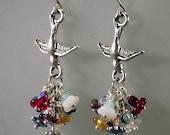 Colorful Bird Bouquet earrings OOAK