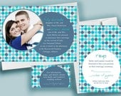 Blue Dots with Engagement Photo, a Printable Wedding Invitation
