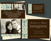 Blue Damask with Engagement Photos - Printable Wedding Invitation