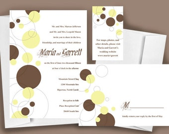 Printable Wedding Invitation, Circles