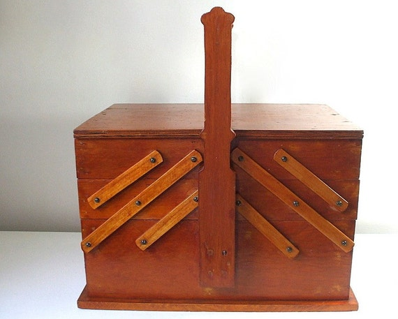 Vintage Sewing Box Large Wood Accordion Style By 2boredbunnies