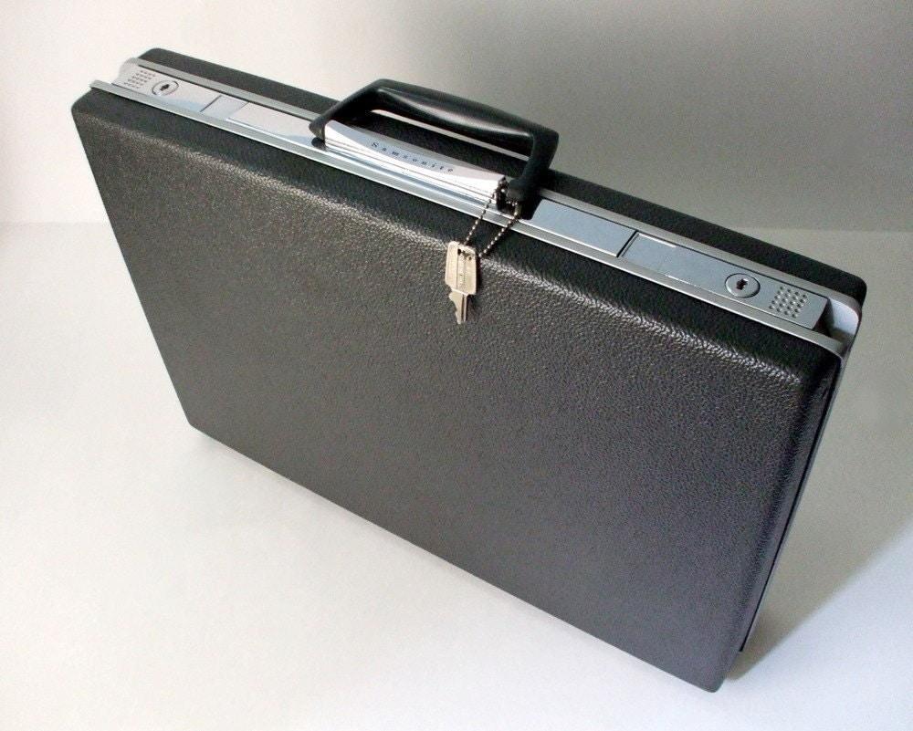 Samsonite Briefcase with Key Charcoal Grey Vintage... large