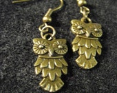 Bronze or Silver Owl Earrings