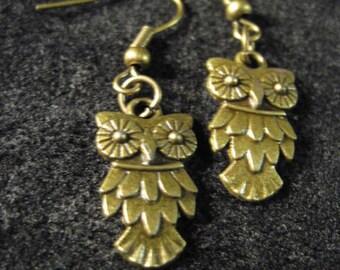Bronze or Silver Owl Earrings