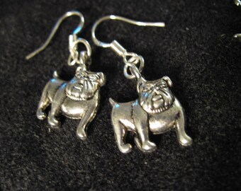 Silver Bull Dog Earrings