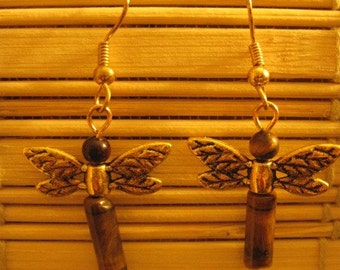 Tiger eye Dragonfly Earrings W\/ FREE SHIPPING