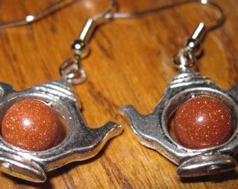 Goldstone  tea pot earrings