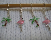 Palm Trees and Flamingo Stitch Markers