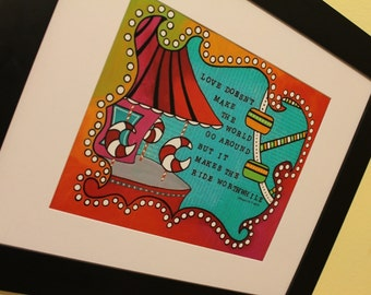8x10 CARNIVAL high quality print of original mixed media art with quote