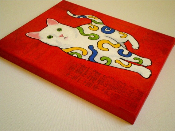 8 x 10 Original mixed-media art - Swirly Cat 20 percent donated to pet rescue gallery wrapped canvas no frame needed