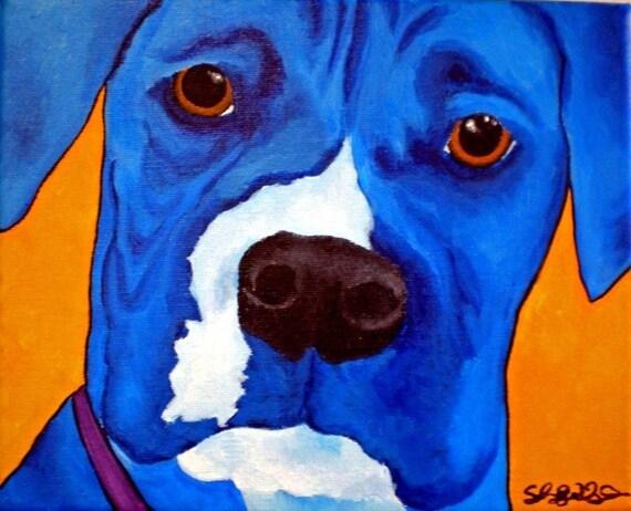 SALE Blue Boxer 8 x 10 Digital Reproduction